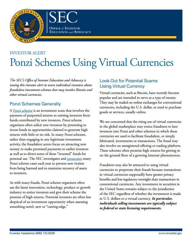 Ponzi Schemes using Virtual Currencies