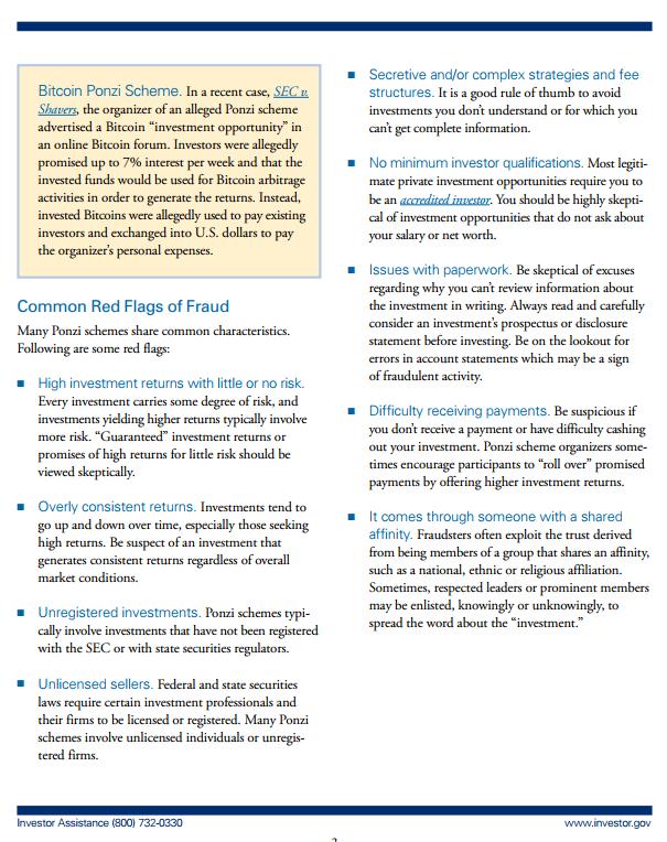 Examples of SEC enforcement Actions against Ponzi Schemes.